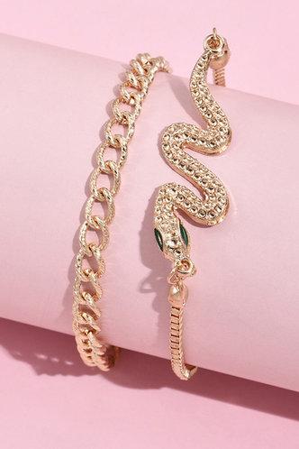 back_Leona Emily Gold Snake Decor Bracelet 2pcs