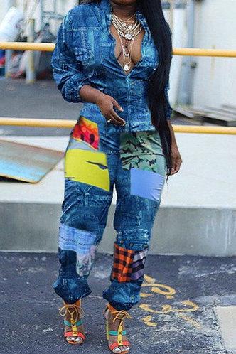 front_All Over Print Patchwork Lapel Neck Blue Plus Size Jumpsuits