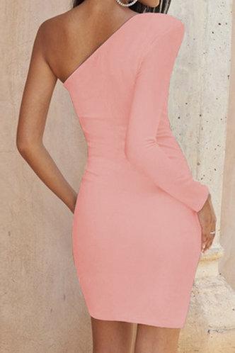 back_Priscilla Elizabeth Coral Pink Ruched Dress