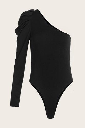 front_Cara Eartha Black One Shoulder Bodysuit