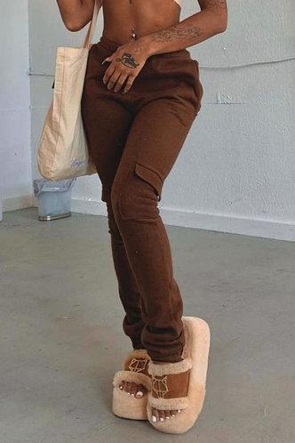 front_Mid Waist Plain Pocket Pencil Pants Brown Pants