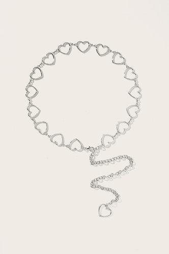 front_Tammy Edith Sliver Heart Decor Chain Belt