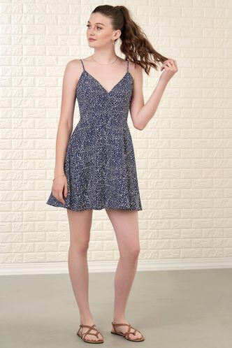 front_Free Spirit Blue Polka Dot Mini Dress