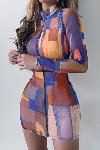 front_Bar/Nightclub Long Sleeve Multicolor Dresses
