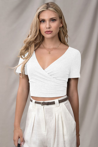 front_Adore You White Short Sleeve Top