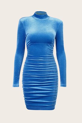 back_Diamond Elaine Blue Velvet Ruched Dress