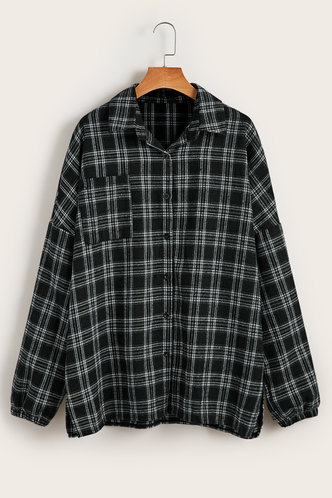 front_Thimpu Black And White Plaid  Flannel