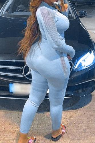 back_Mid Waist Slim Fit Blue Activewear Sets