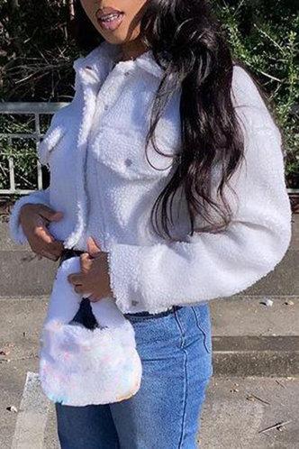 back_Cute Lapel White Outerwear
