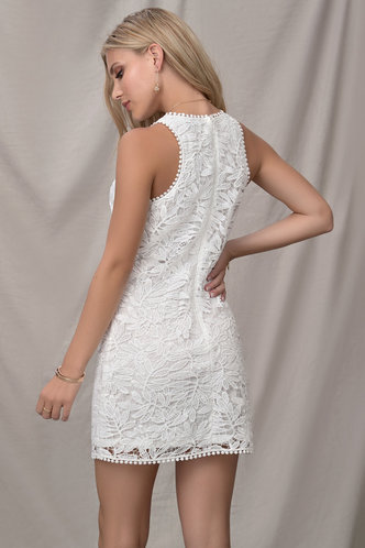 back_Winterfields White Mini Dress