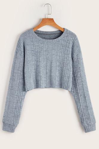 front_Feel My Love Blue Grey  Sweater