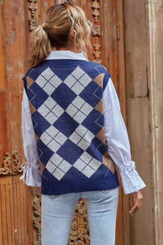 back_Expect the Best Argyle Sweater Vest Vest Sweater