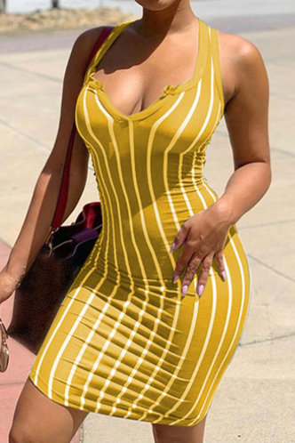 front_Shopping Vacation Beach Sleeveless Yellow Striped Striped Dresses