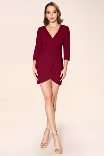 front_Sweetest Things Burgundy Mini Dress