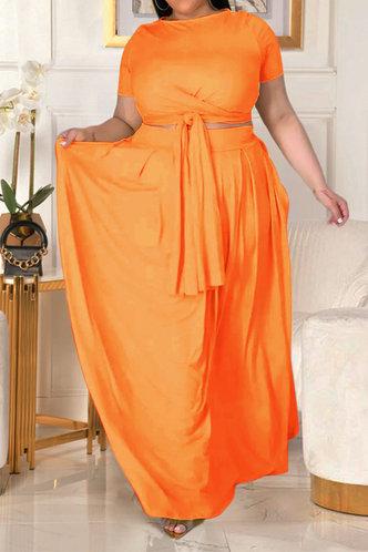 back_Davina Eunice Orange Plus Size Skirt Set