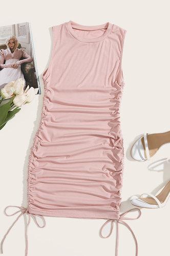 back_Georgina Sexy Pink Ruched Dress