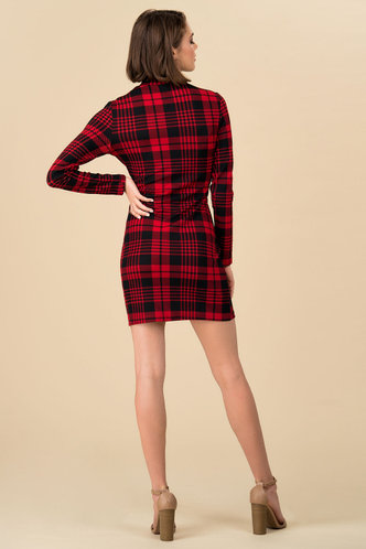 back_As If Red And Black Plaid Bodycon Dress