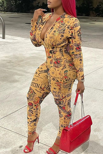 front_V Neck Other  conventional Pencil Pants Multi Print Jumpsuits