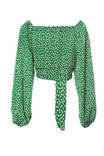 back_Emerald Money Green Floral Print Crop Blouse