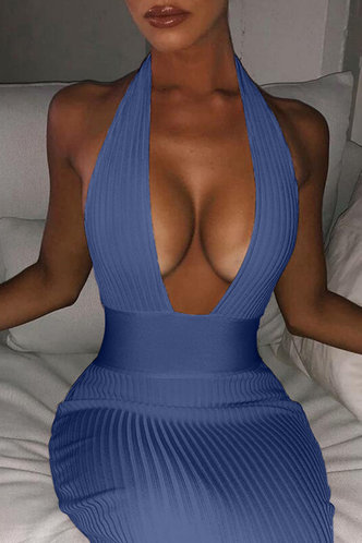 back_Hillary Elsa Blue Halter Bodycon Dress