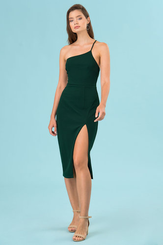 front_Felicite Dark Emerald Midi Dress