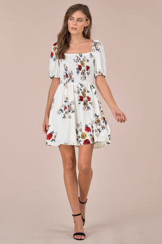 back_Escapade Ivory Floral Print Mini Dress