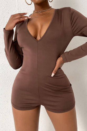 front_Round Neck Brown Rompers
