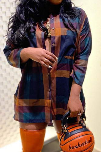 front_Elsie Kandeling Plaid Button Up Blouse