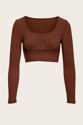 front_Better Together Brown Crop Top