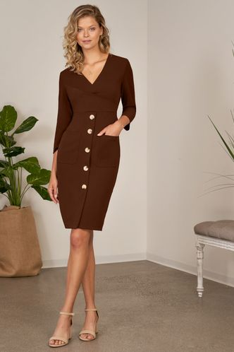 front_Amber Light Brown Midi Dress
