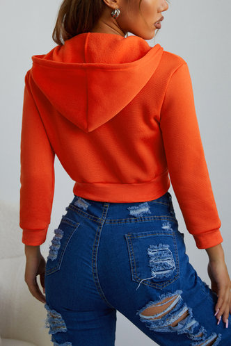 back_Sporty Hooded Collar Rust Outerwear