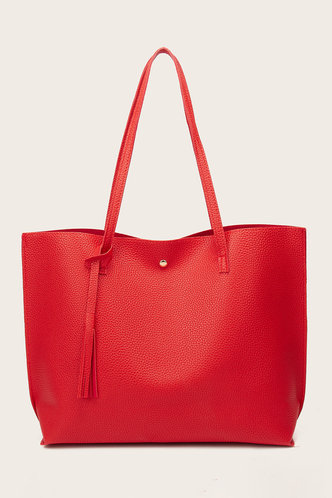 front_Tessie Elvira Red Tote Bag