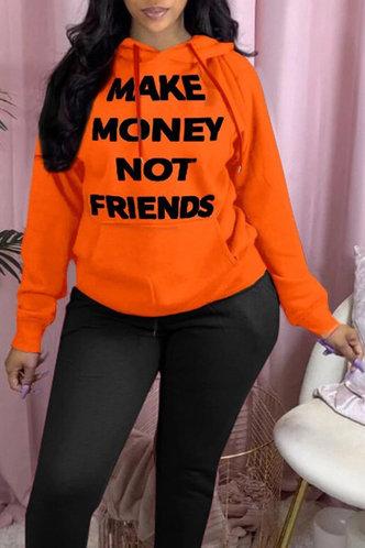 back_Casual Hoodie Letter Letter Orange Sweatshirts & Hoodies