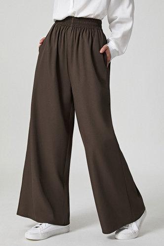 front_Jamilah Brown Wide Leg Pants