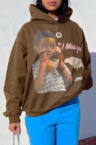 front_Vacation Street Hooded Collar Graphic Print Khaki Sweatshirts & Hoodies