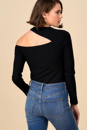 back_Complicated Black Asymmetrical Neck Top