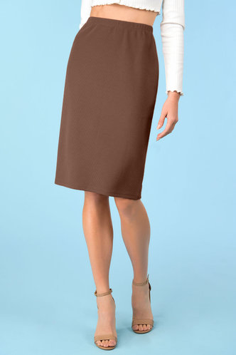front_Office Hours Brown Skirt