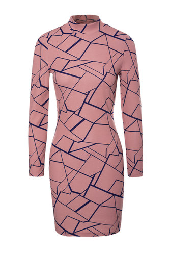 front_Hypnotic Dusty Pink Geometric All Over Print Bodycon Dress