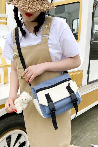 back_Blue And White Crossbody Bags