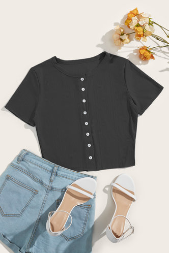 back_Ally Eileen Black Button Front Tee