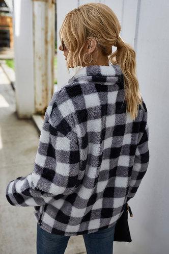 back_Valora Black And White Plaid Pullover