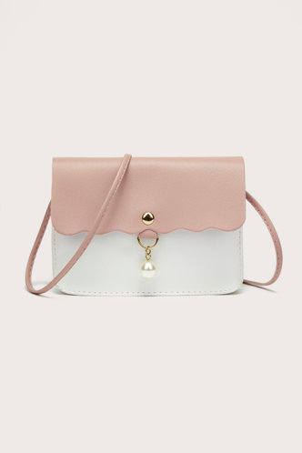 front_Ann Enid Pink And White Crossbody Bag