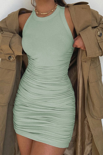 back_Carmelita Mint Green Ruched Dress