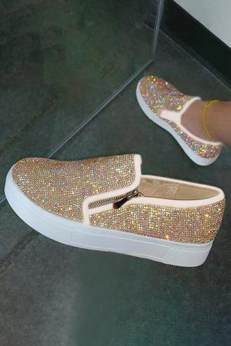 front_Elena Ethel Gold Glitter Canvas Shoes