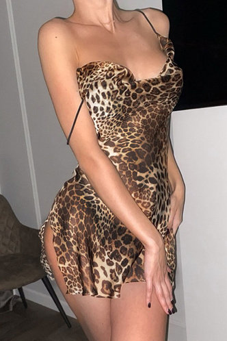 front_Yvonne Edith Brown Leopard Sexy Lingerie