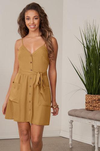 front_Soon Mustard Mini Dress