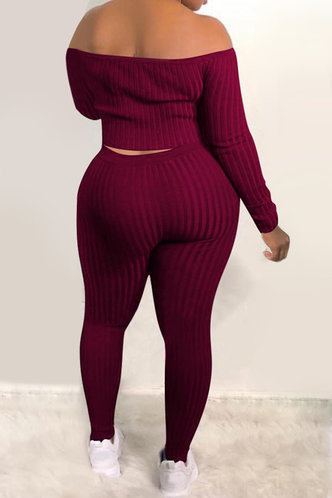 back_Pullover and   Wine Red Plus Size Pants Sets