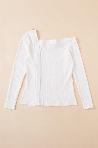 back_Plain Long Sleeve One Shoulder Slim Fit Beige Tees