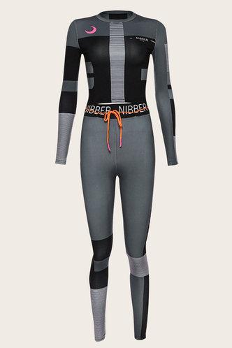 back_Colorblock  Elastic Waist Black And Grey Pants Sets