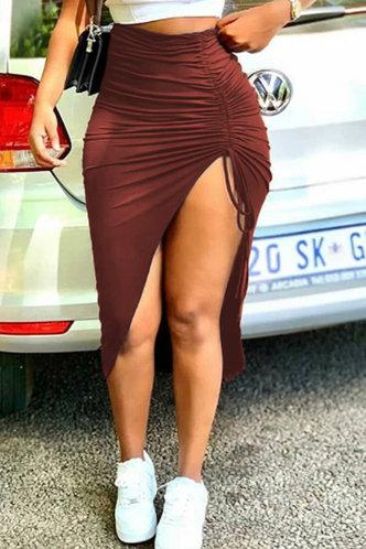 front_Mid Waist Plain Shirred Redwood Skirts